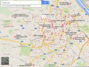Google-Suche nach Hotels in Wien